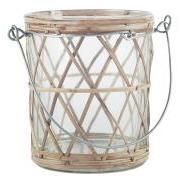 Lygte t/fyrfadslys m/bambusflet og metalhank