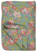 Quilt petrol m/blomster