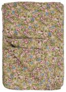 Quilt beige m/røde, rosa, blå og brune blomster