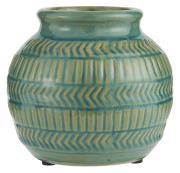 Vase m/mønster grøn hals Ø:9,5 cm