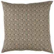 Pudebetræk mørkebrun baggrund beige blomstermønster