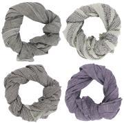 Tørklæde lilla/grå kombination 4 ass