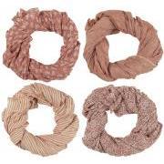 Tørklæde faded rose/koral kombination 4 ass
