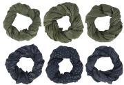 Tørklæde mørkeblå/oliven kombination 6 ass