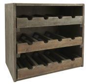 Vinreol m/3 skuffer til 4 flasker vin