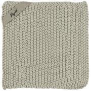 Grydelap Mynte beige strikket