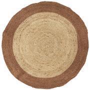 Gulvtæppe rund natur jute m/brun kant