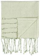 Hammam håndklæde m/frynser natur/grønne striber