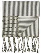 Hammam håndklæde m/frynser natur/sorte striber