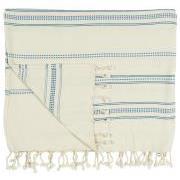 Hammam håndklæde m/frynser natur m/vævet blåt mønster