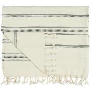 Hammam håndklæde m/frynser natur m/vævet sort mønster