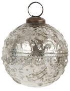 Julekugle svungen mønster sølv