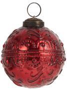 Julekugle svungen mønster rød