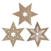 Stjerne 3 ass bordpynt/pakkepynt