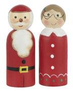 Julemand og kone stående håndmalet