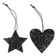 Juletræspynt stjerne/hjerte glitter 2 ass