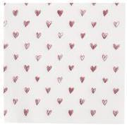 Serviet røde hjerter 20 stk pr pakke